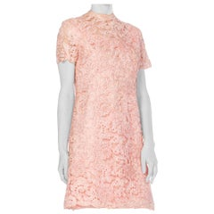 1960S Silk & Lurex Mock Neck Mod Mini Dress