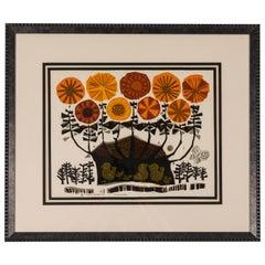 1960s Silk Screen 'Flowers' Print, by David Weidman