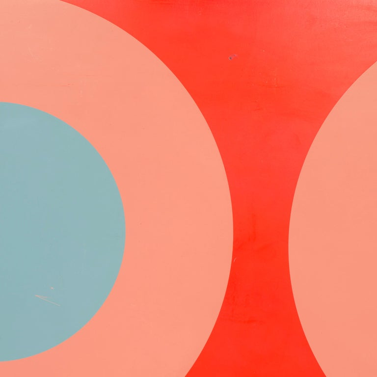 An original graphic silkscreen color study on masonite panel with bulls-eye motif by British-born artist Peter Gee.