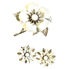 1960'S Silver & Enamel Abstract Big Flower Brooch & Earrings S/3 By Coventry