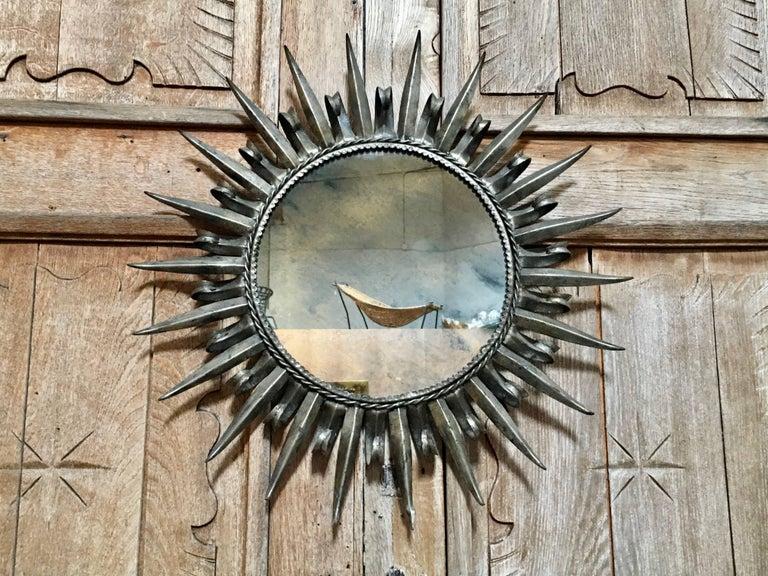Mid-Century Modern 1960s Silver Leaf Metal Sunburst Mirror For Sale