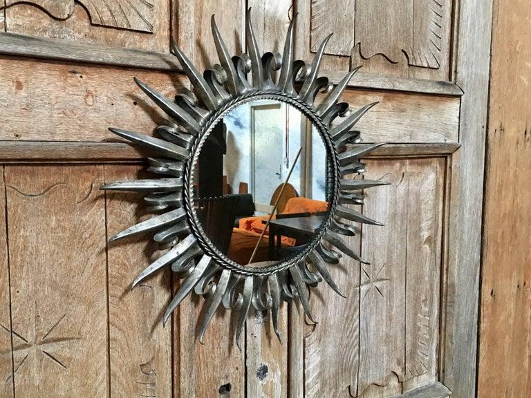 Italian 1960s Silver Leaf Metal Sunburst Mirror For Sale