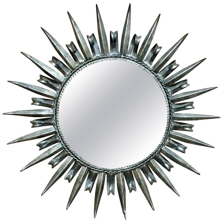 1960s Silver Leaf Metal Sunburst Mirror For Sale