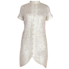 1960's SIlver Mod Knitted Lurex Cocktail Dress