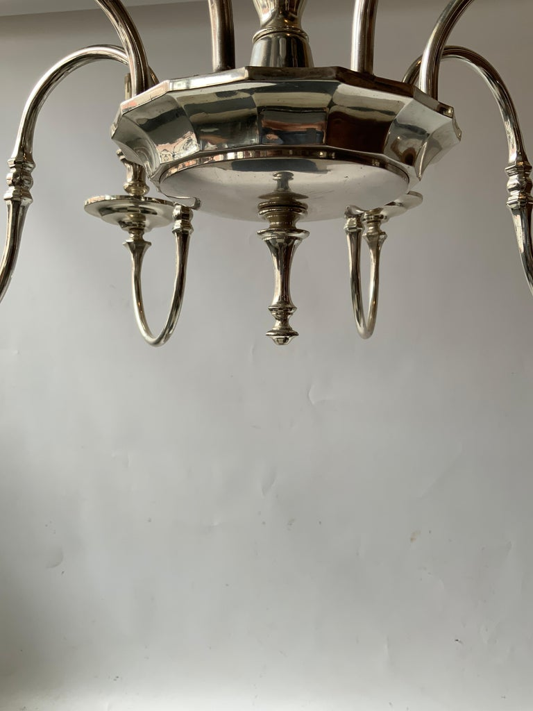 1960s Silver Plate 8-Arm Chandelier For Sale 6