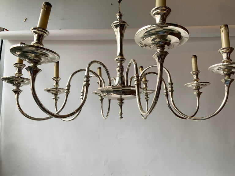 Mid-20th Century 1960s Silver Plate 8-Arm Chandelier For Sale