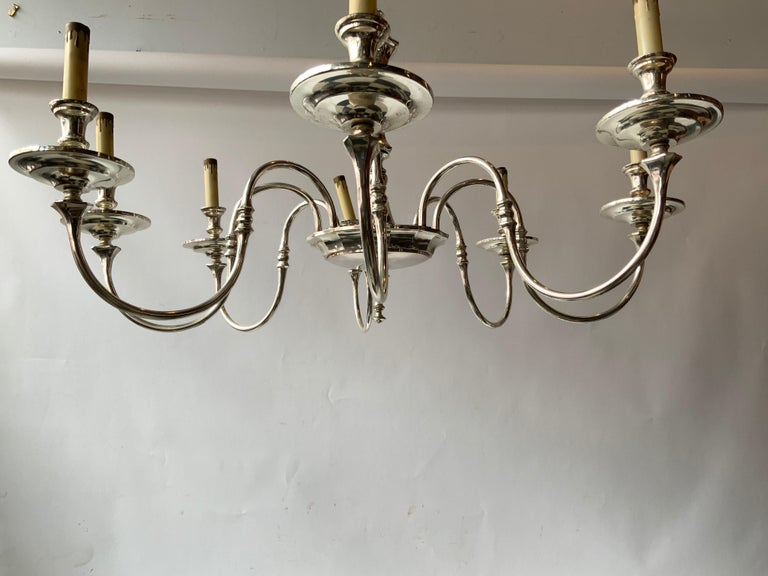1960s Silver Plate 8-Arm Chandelier For Sale 3