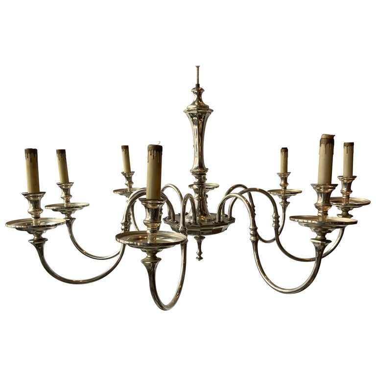 1960s Silver Plate 8-Arm Chandelier For Sale