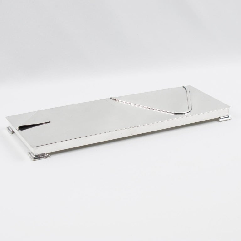 Mid-Century Modern 1960s Silver Plate Extra Long Box For Sale
