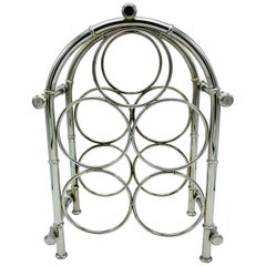 1960s Silver Plate Faux Bamboo Wine Bottle Rack