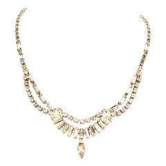 1960'S Silver & Swarovski Crystal Choker Style Necklace By, Kramer Of New York