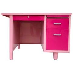 1960s Single Pedestal Tanker Desk Refinished in Two-Tone Pink