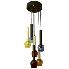 Italian Colored Hand Blown Glass Chandelier attributed to Stilnovo 1960's