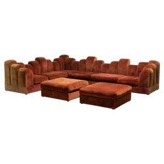 """1960s """"Skyline"""" Design Velvet Sectional Sofa"""