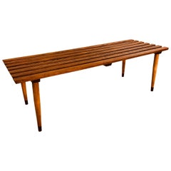 1960s Slat Wood Bench Coffee Table