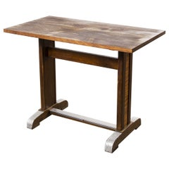 1960s Small Oak French Bistro Café Kitchen Dining Table 'Model 1'