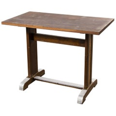 1960s Small Oak French Bistro Café Kitchen Dining Table 'Model 2'