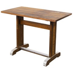 1960s Small Oak French Bistro Café Kitchen Dining Table, 'Model 3'