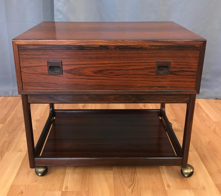 1960s Small Scandinavian Modern Rosewood Work Cabinet Table With