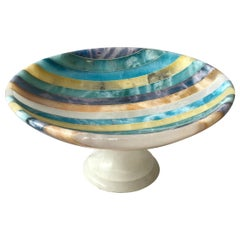 1960s Italian  Small Striped Alabaster Compote