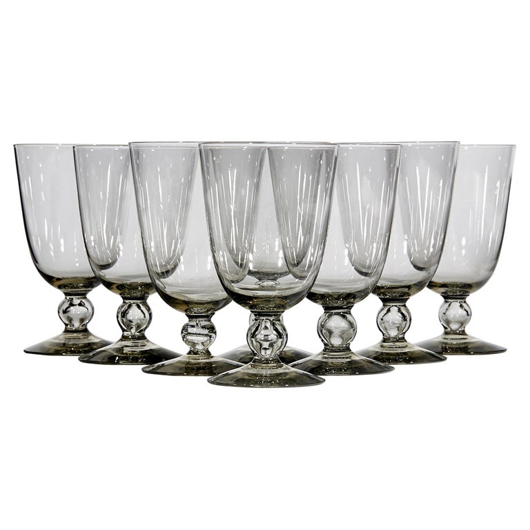 1960s Smoked Glass Water Stems, Set of 8 For Sale