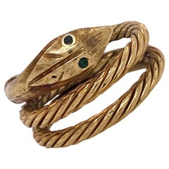 1960s Snake 18 Karat Yellow Gold Hand Carved Wrap Band Ring