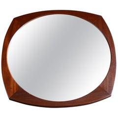1960s Solid Afrormosia Framed Circular Wall Mirror