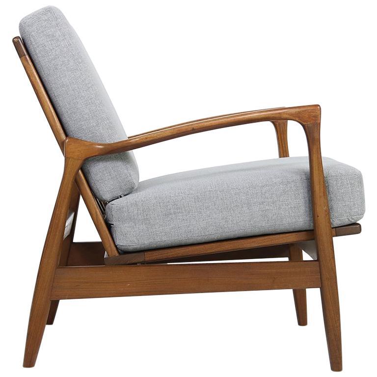 1960s Solid Teak Easy Chair Organic Shape Lounge Danish Modern Design For