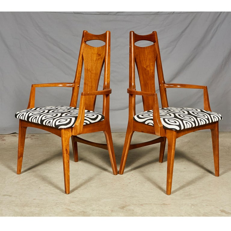 Mid-Century Modern 1960s Solid Walnut Dining Chairs, Set of Six