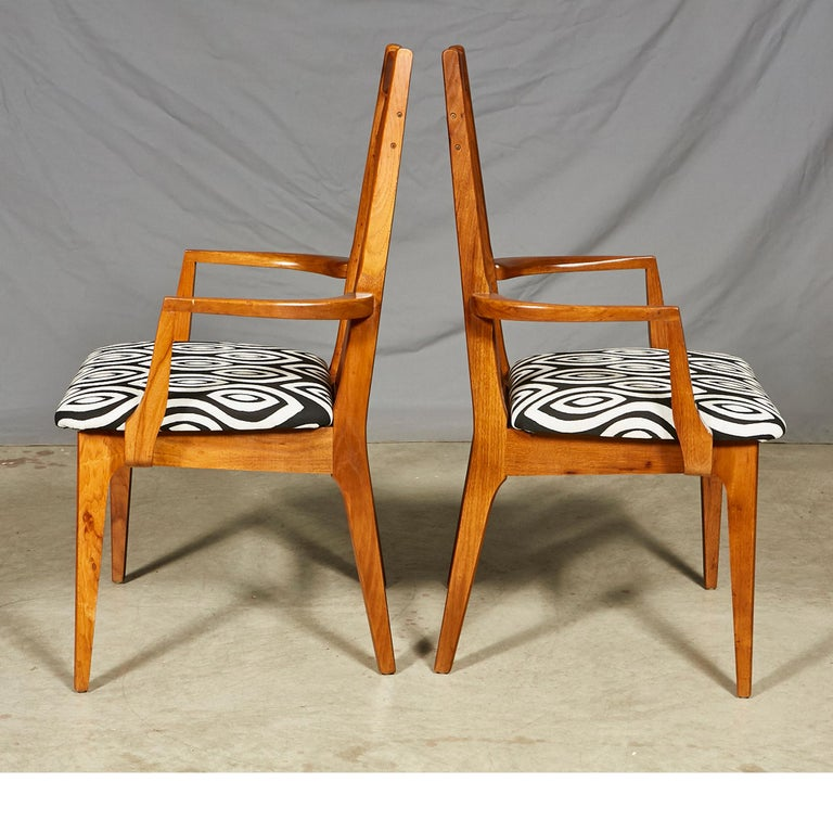 American 1960s Solid Walnut Dining Chairs, Set of Six