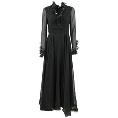 1960s Sorelle Fontana Black High-Fashion Silk Long Dress