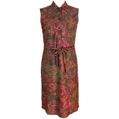 1960s Sorelle Fontana Red Lamè Iridescent Wool Floral Sheath Long Dress