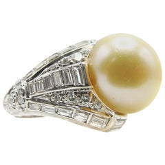 1960s South Sea Pearl Diamond Gold Ring