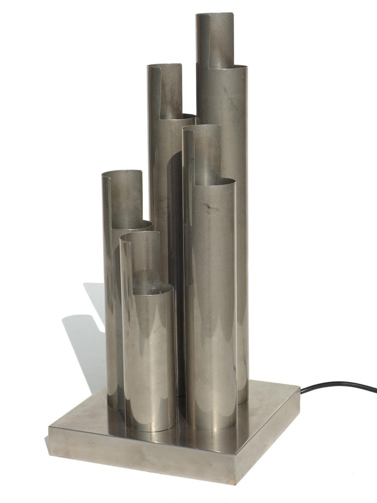Steel table lamp Excellent condition Perfect working order.