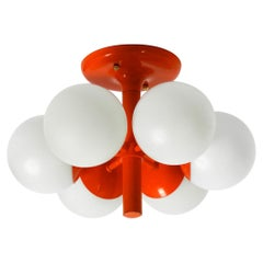 1960s Space Age Metal Ceiling Lamp with 6 Glass Balls by Kaiser Leuchten