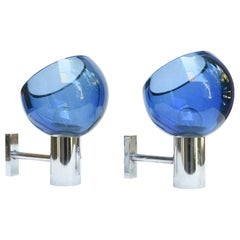 1960s Space Age Transparent Blue Wall Lights by Seguso Murano, Italy