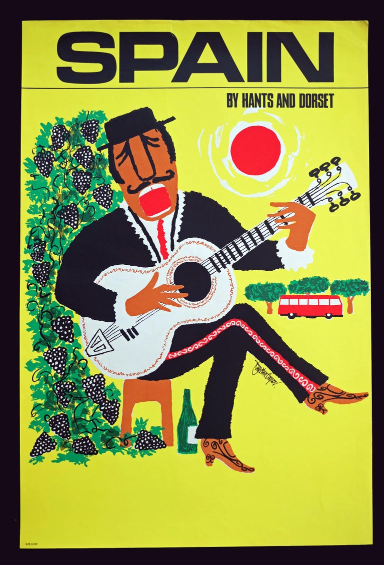 1960s travel poster for Spain designed by Royston Cooper for Hants and Dorset Buses, UK. Rolled.  Measures: L 76.5cm x W 51cm.