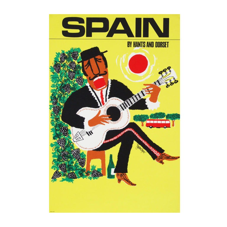 Mid-Century Modern 1960s Spain Travel Poster by Royston Cooper Pop Art For Sale
