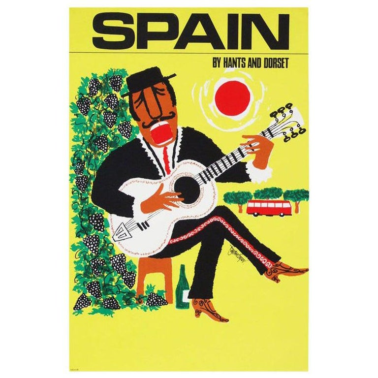 1960s Spain Travel Poster by Royston Cooper Pop Art For Sale