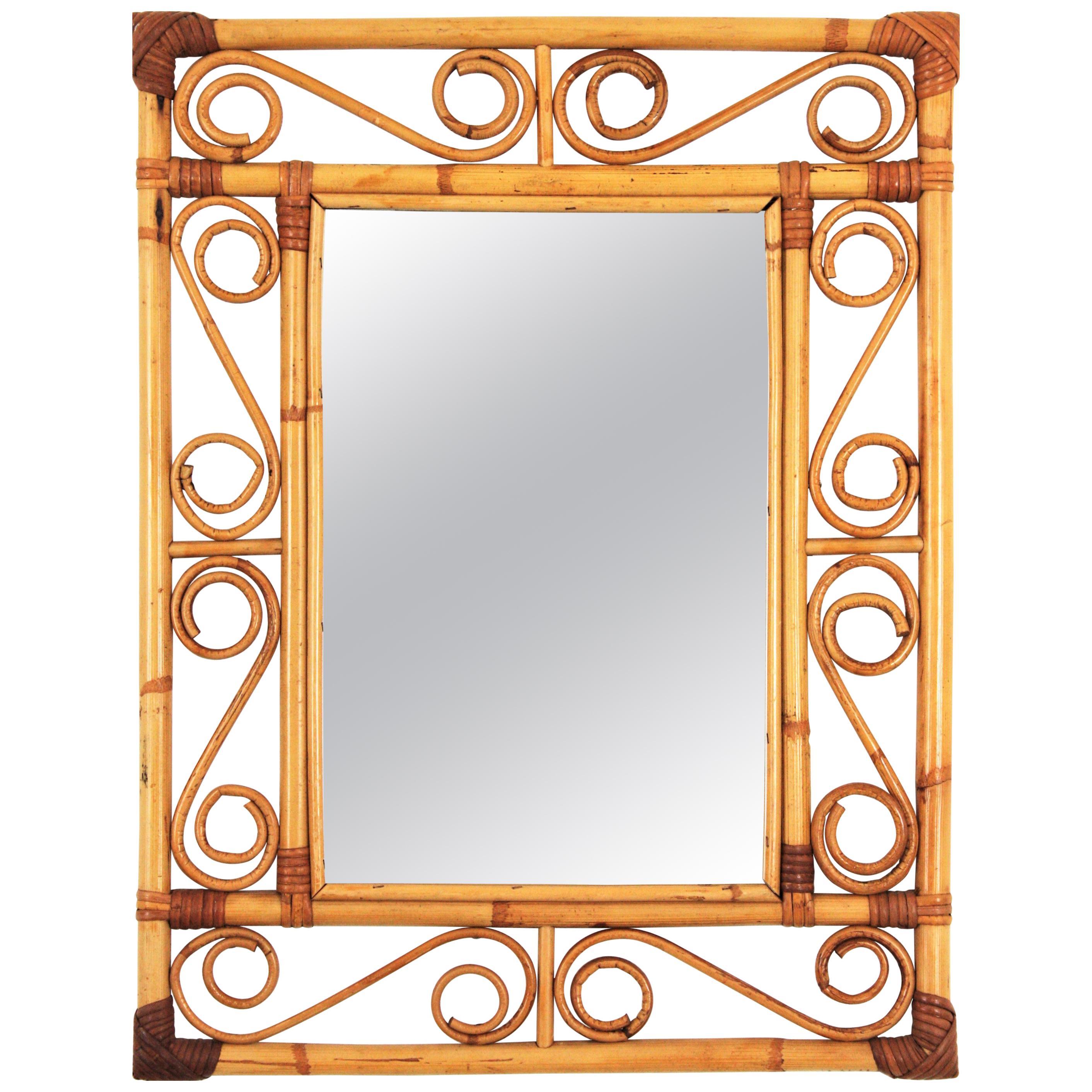 Franco Albini Style Bamboo and Rattan Rectangular Mirror with Scroll Motif