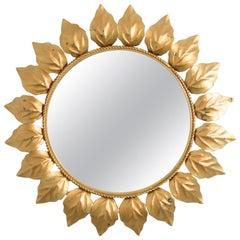 1960s Spanish Metal Leaf Sunburst Mirror
