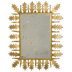 1960s Spanish Rectangular Sunburst Mirror