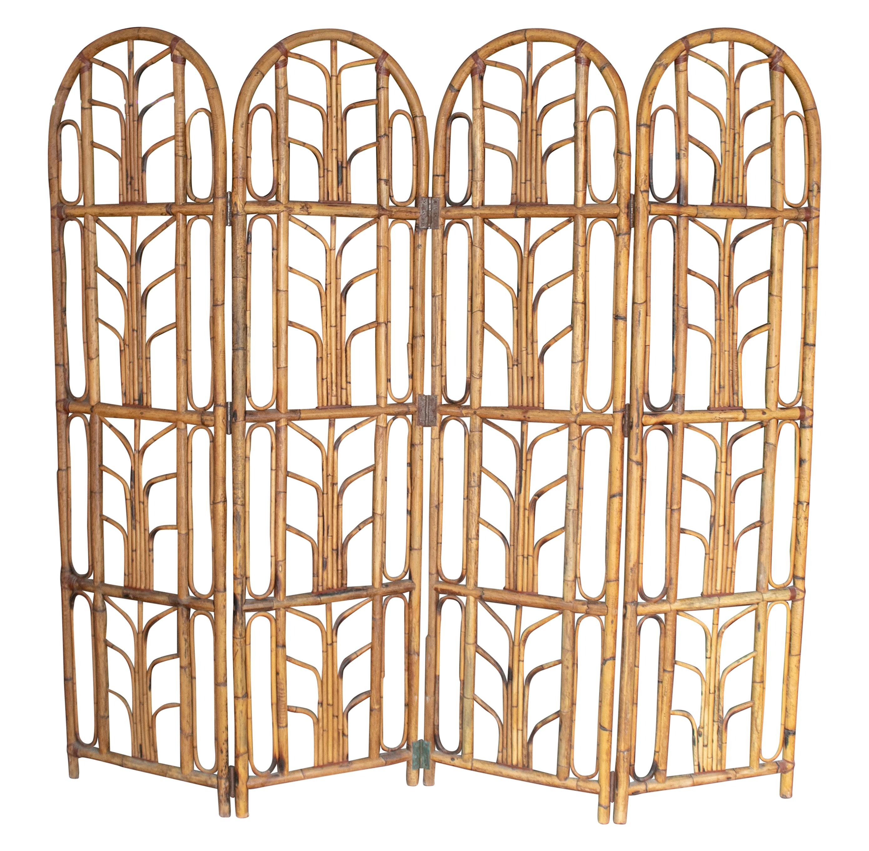 1960s Spanish Four-Panel Bamboo Folding Screen