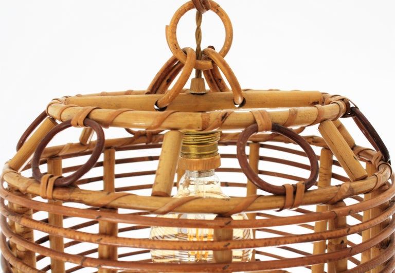 1960s Spanish Mid-Century Modern Bamboo and Rattan Pendant Hanging Lamp For Sale 7