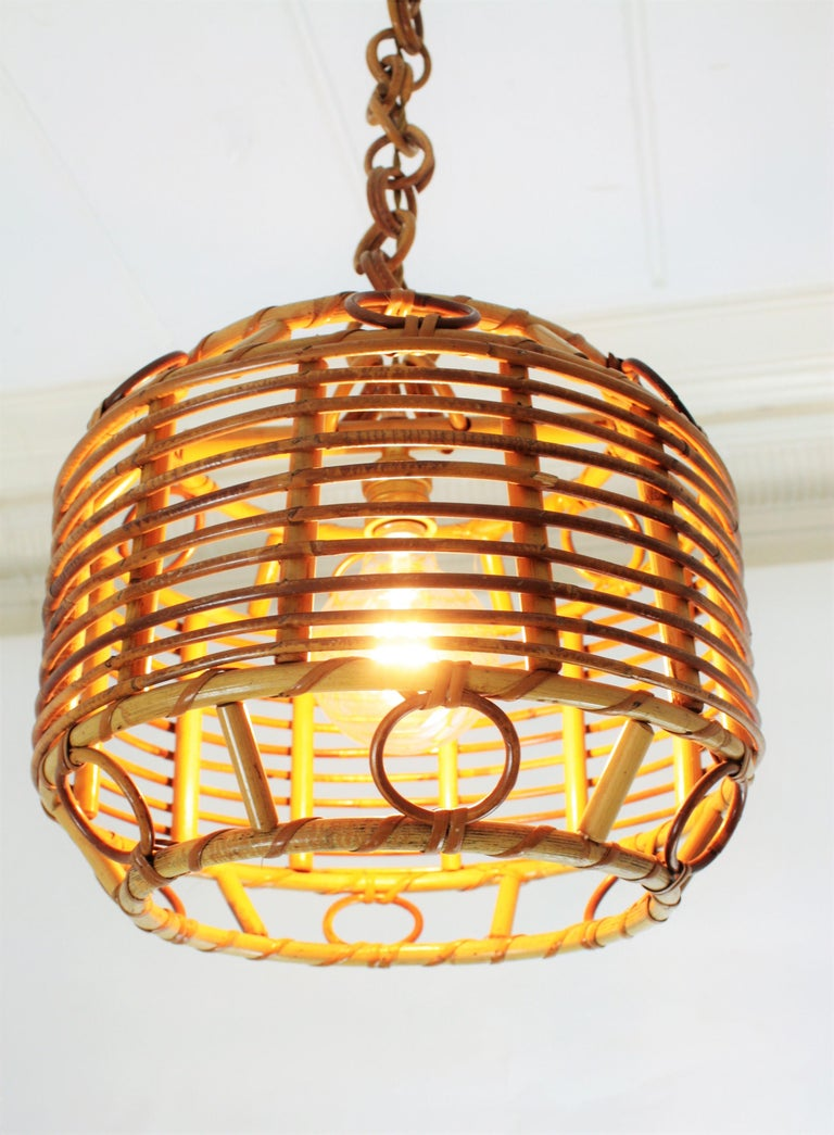 1960s Spanish Mid-Century Modern Bamboo and Rattan Pendant Hanging Lamp For Sale 10