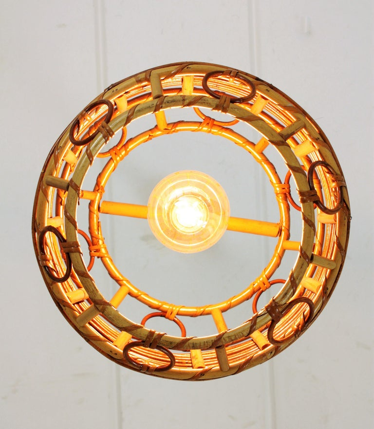 1960s Spanish Mid-Century Modern Bamboo and Rattan Pendant Hanging Lamp For Sale 11