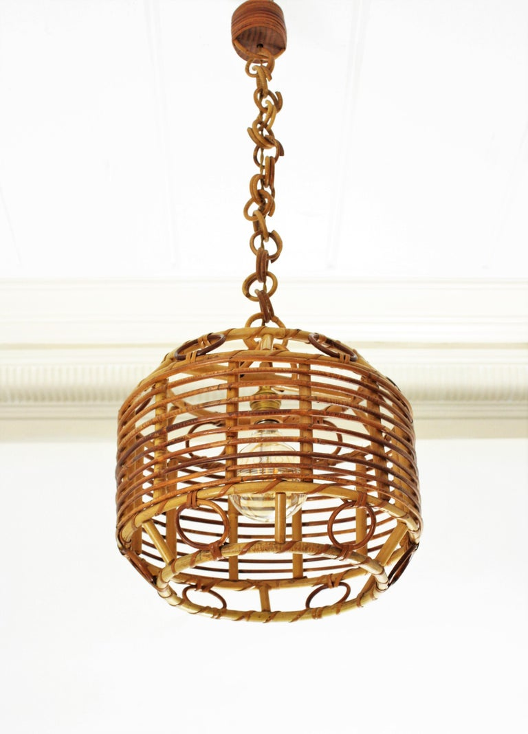 1960s Spanish Mid-Century Modern Bamboo and Rattan Pendant Hanging Lamp For Sale 1