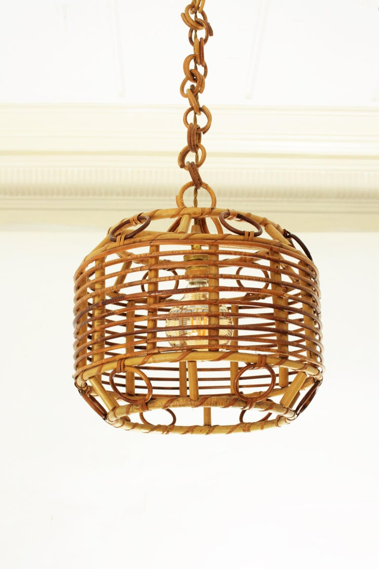 1960s Spanish Mid-Century Modern Bamboo and Rattan Pendant Hanging Lamp For Sale 2
