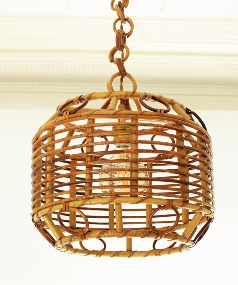 1960s Spanish Mid-Century Modern Bamboo and Rattan Pendant Hanging Lamp For Sale 4
