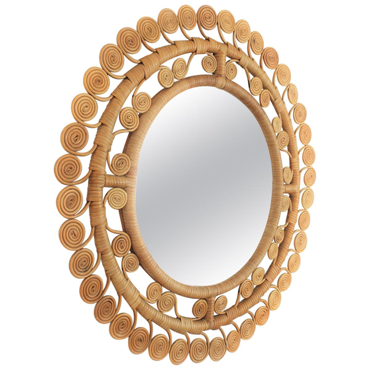 1960s Spanish Rattan Mirror with Filigree Scrollwork Frame
